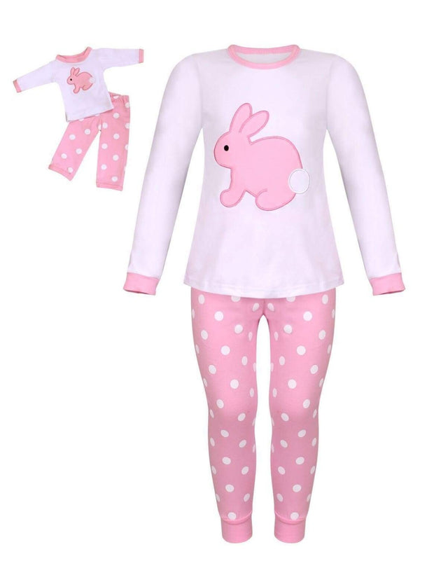 Girls Easter Themed Long Sleeve Pajama Set with Matching Doll Set - White / XS-2T - Girls Pajama