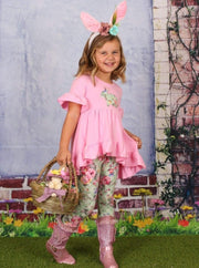 Girls Easter Themed Ruffled Hi-Lo Tunic & Leggings Set - Girls Easter Set