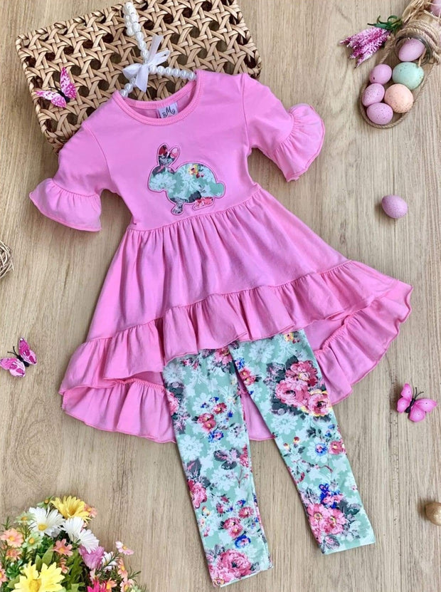 Girls Easter Themed Ruffled Hi-Lo Tunic & Leggings Set - Green / 2T - Girls Easter Set