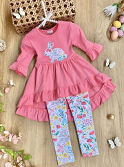 Girls Easter Themed Ruffled Hi-Lo Tunic & Leggings Set - Pink / 2T - Girls Easter Set