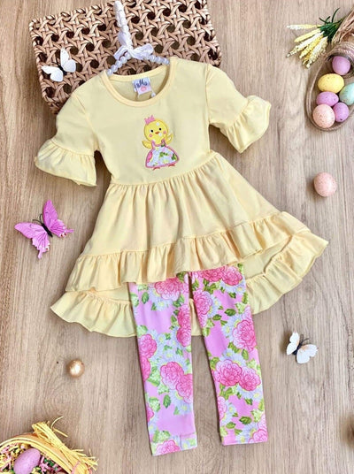 Girls Easter Themed Ruffled Hi-Lo Tunic & Leggings Set - Yellow / 2T - Girls Easter Set
