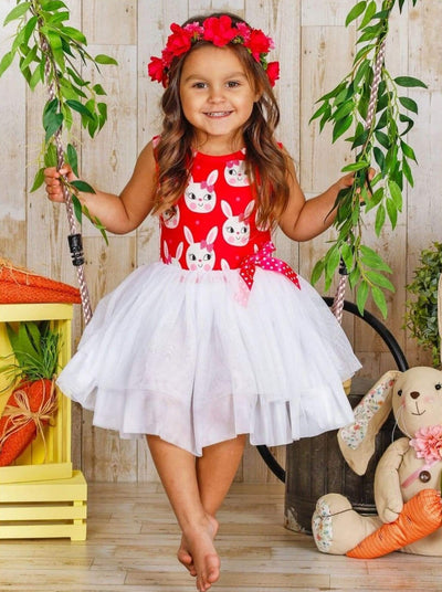 Girls Easter Themed Tutu Dress with Bow - Girls Easter Dress