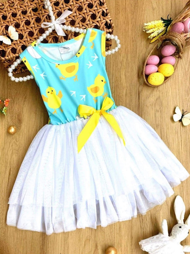 Girls Easter Themed Tutu Dress with Bow - Blue / 2T - Girls Easter Dress