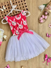 Girls Easter Themed Tutu Dress with Bow - Fuchsia / 2T - Girls Easter Dress