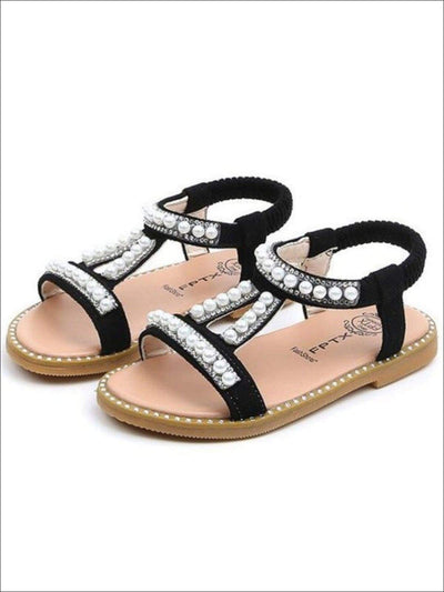 Girls Elastic Strap Pearl Embellished Sandals - Girls Sandals