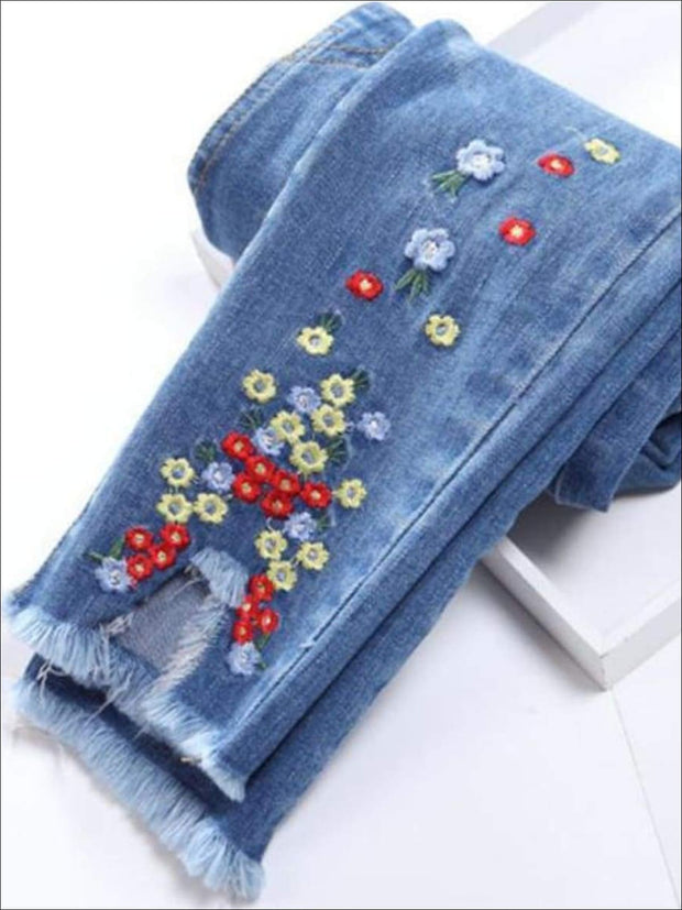 Girls Elastic Waist Floral Embroidered Jeans with Frayed Hems - Girls Jeans