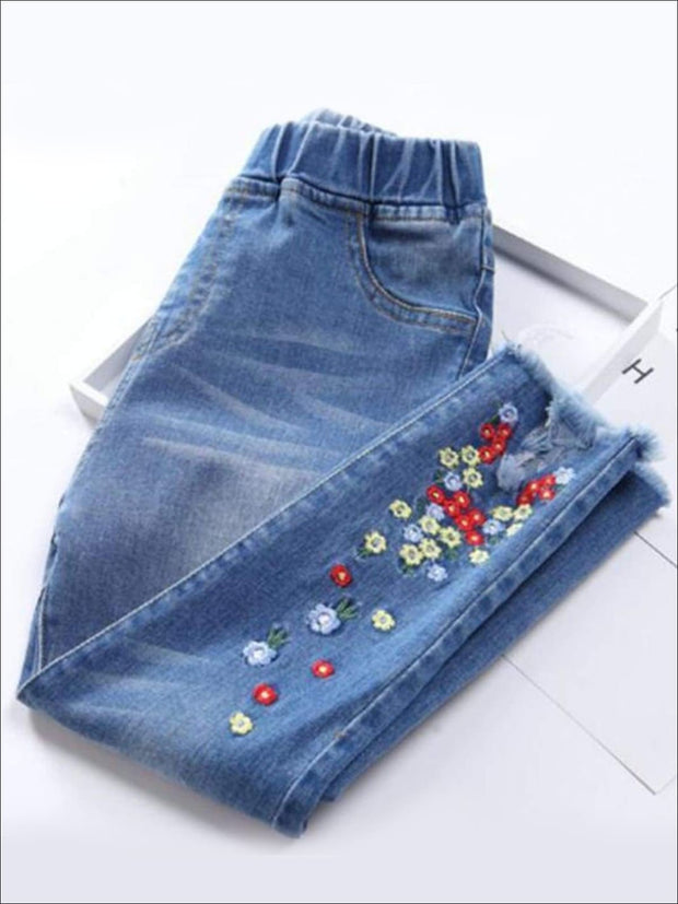 Girls Elastic Waist Floral Embroidered Jeans with Frayed Hems - Blue / 24M - Girls Jeans