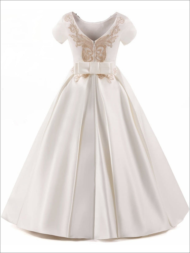 Girls Elegant Gold Embroidered Short Sleeve Flared Floor Length Gown with Bow Tie Belt - Girls Gown