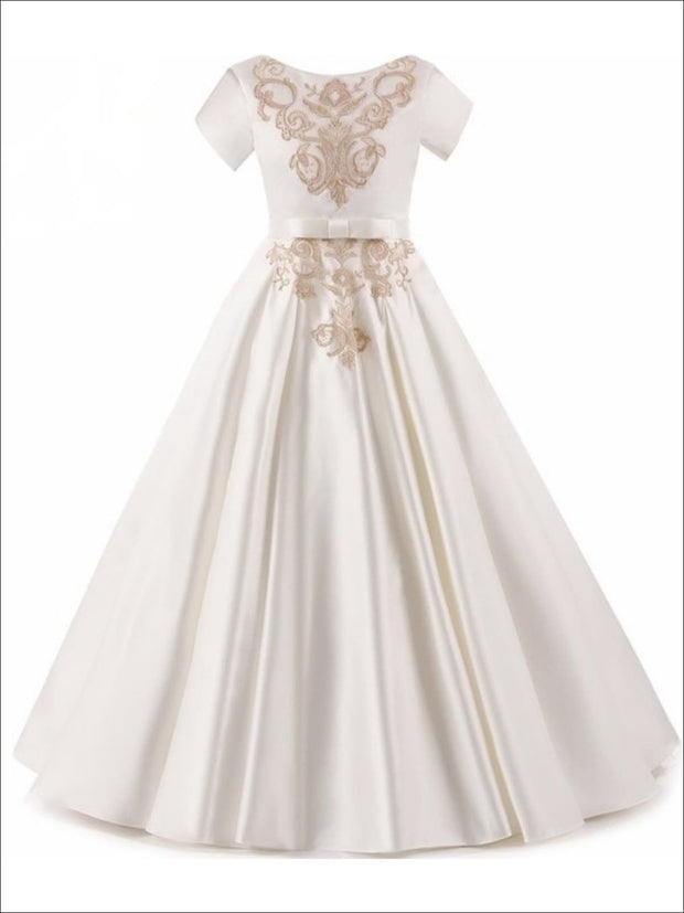 Girls Elegant Gold Embroidered Short Sleeve Flared Floor Length Gown with Bow Tie Belt - Ivory / 3T - Girls Gown