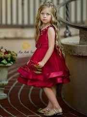 Girls Elegant Pearl Embellished Two Tier Special Occasion Holiday Dress - Girls Fall Dressy Dress