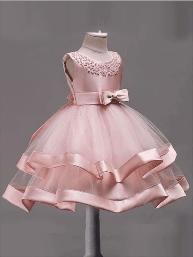 Girls Elegant Pearl Embellished Two Tier Special Occasion Holiday Dress