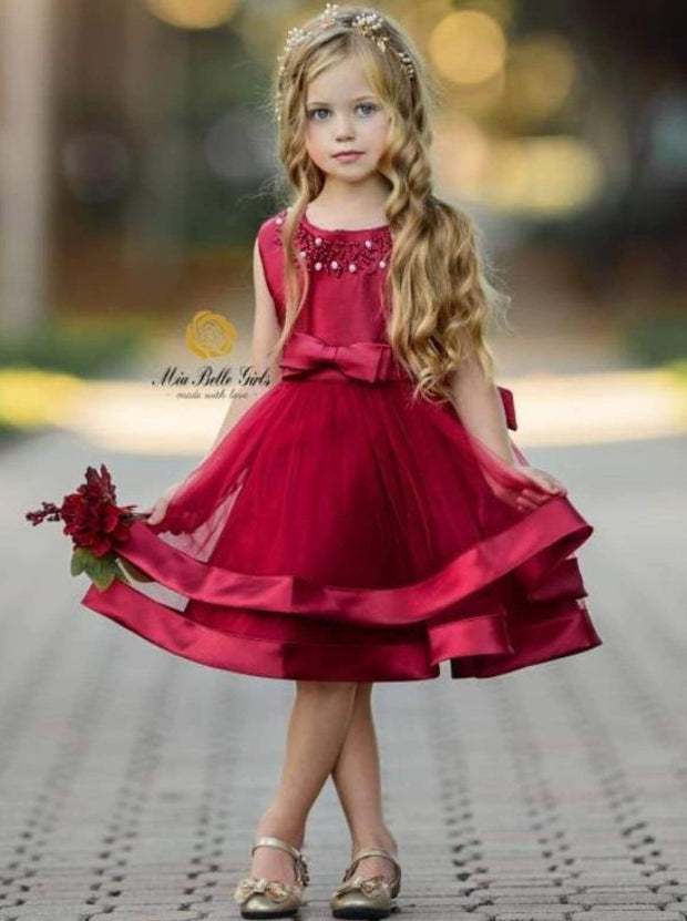 Girls Elegant Pearl Embellished Two Tier Special Occasion Holiday Dress - Burgundy / 6Y - Girls Fall Dressy Dress
