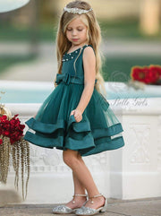 Girls Elegant Pearl Embellished Two Tier Special Occasion Holiday Dress - Green / 5Y - Girls Fall Dressy Dress