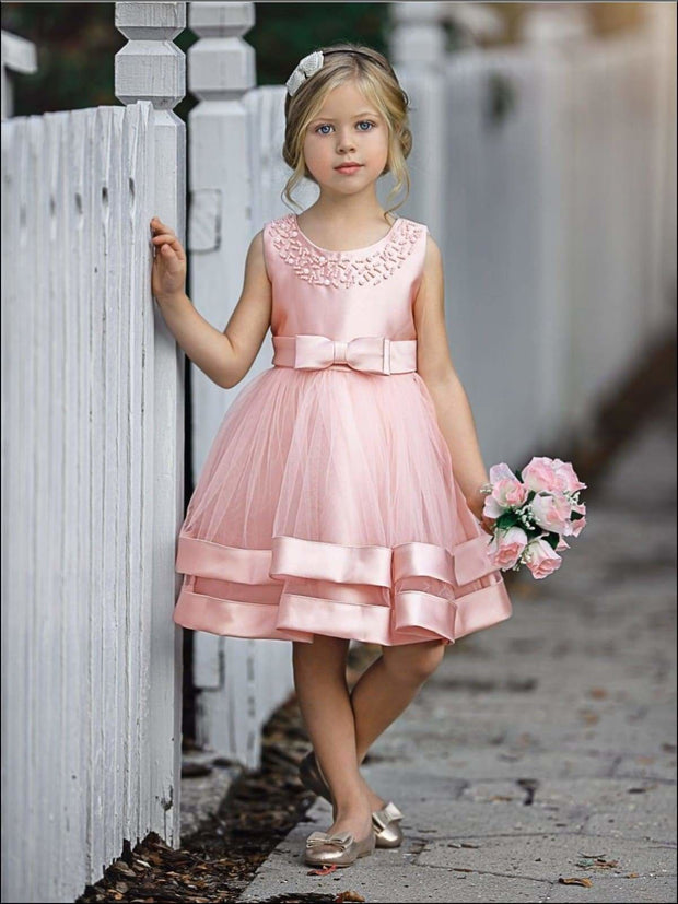 Girls Elegant Pearl Embellished Two Tier Special Occasion Holiday Dress - Pink / 6Y - Girls Fall Dressy Dress