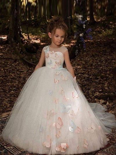 Girls Elegant Shimmering Crystal Butterfly Applique Flower Girl Dress - 2T - Girls Gowns