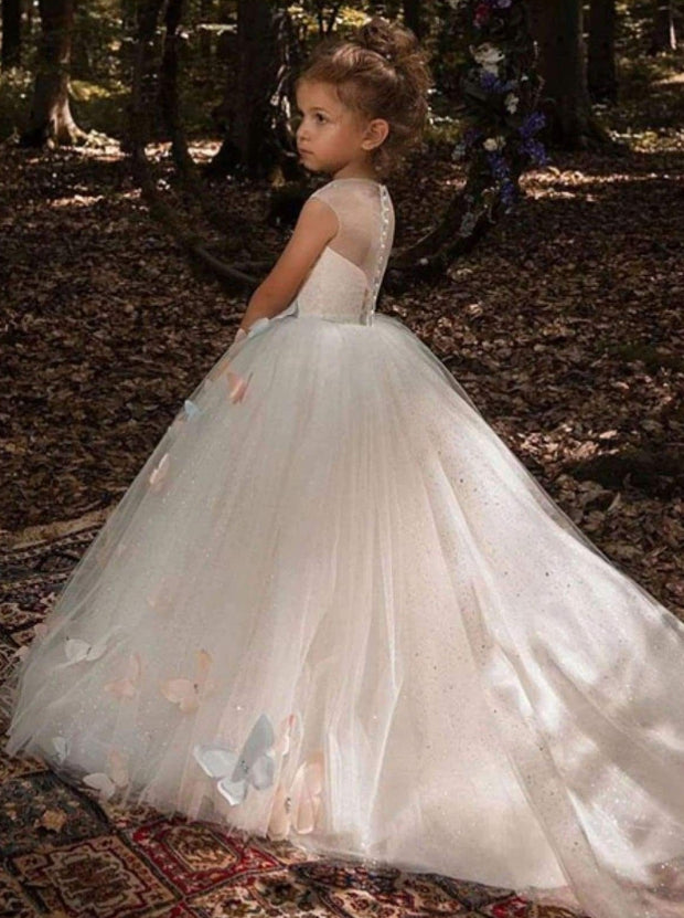 Girls Elegant Shimmering Crystal Butterfly Applique Flower Girl Dress - Girls Gowns