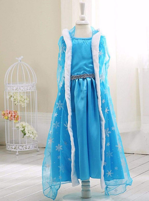 Girls Elsa from Frozen Inspired Costume Dress with Matching Cape - Girls Halloween Costume