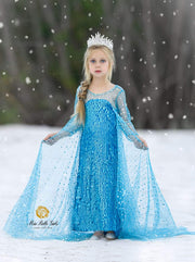 Girls Elsa from Frozen Inspired Halloween Costume Dress - Girls Halloween Costume