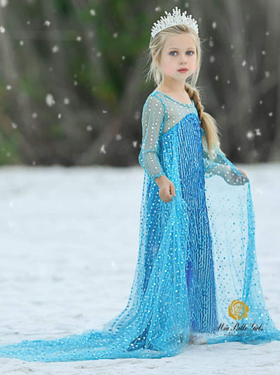 Girls Elsa from Frozen Inspired Halloween Costume Dress - blue / 2T/3T - Girls Halloween Costume