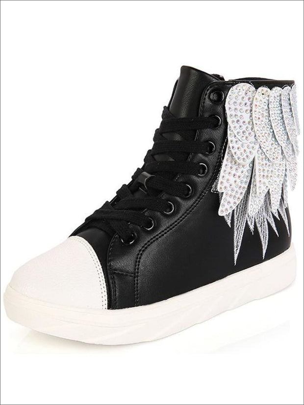 Girls Embellished Feather High Top Sneakers - Girls Sneakers