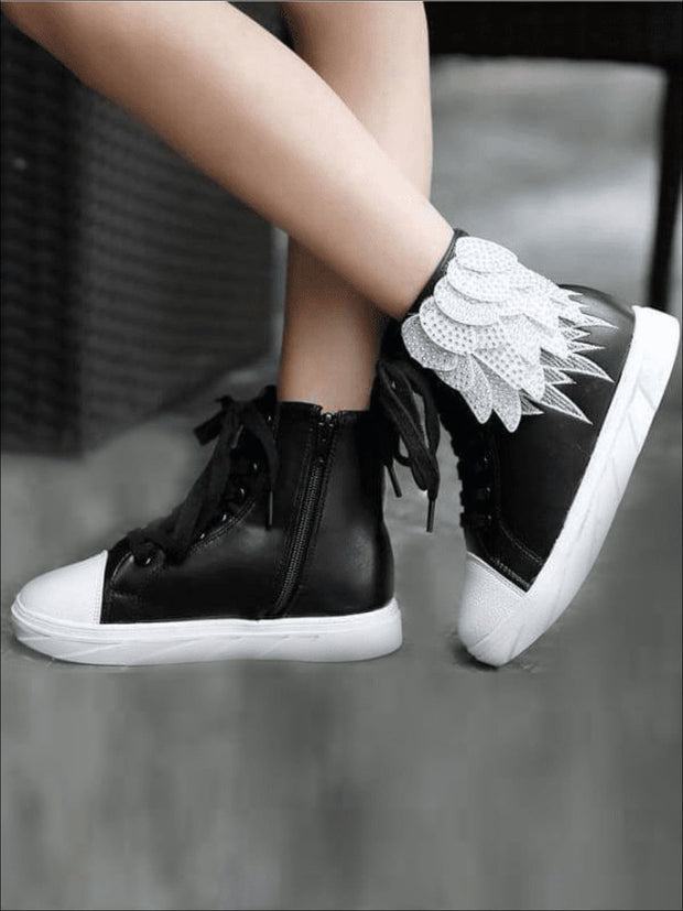 Girls Embellished Feather High Top Sneakers - black / 1 - Girls Sneakers
