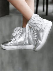 Girls Embellished Feather High Top Sneakers - Silver / 1 - Girls Sneakers