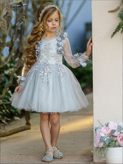 Girls Embellished Flowered Long Sleeve Dress - Girls Spring Dressy Dress