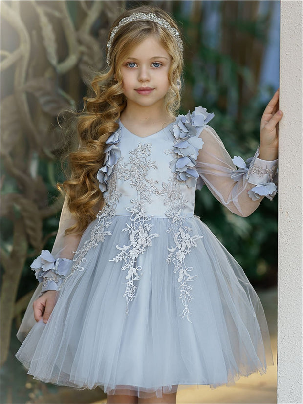 Girls Embellished Flowered Long Sleeve Dress - Grey / 3T - Girls Spring Dressy Dress