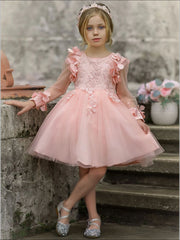 Girls Embellished Flowered Long Sleeve Dress - Pink / 7Y - Girls Spring Dressy Dress