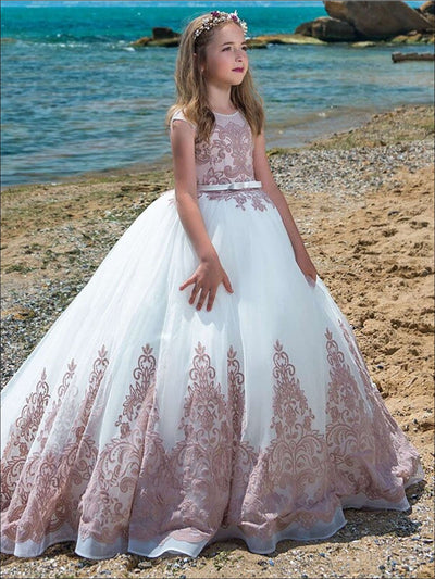 Girls Embellished Ruffled Mesh Princess Gown - Pink / 2T - Girls Gowns