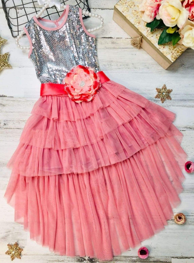 Girls Embellished Ruffled Tiered Hi-Lo Tutu Dress - Girls Spring Dressy Dress