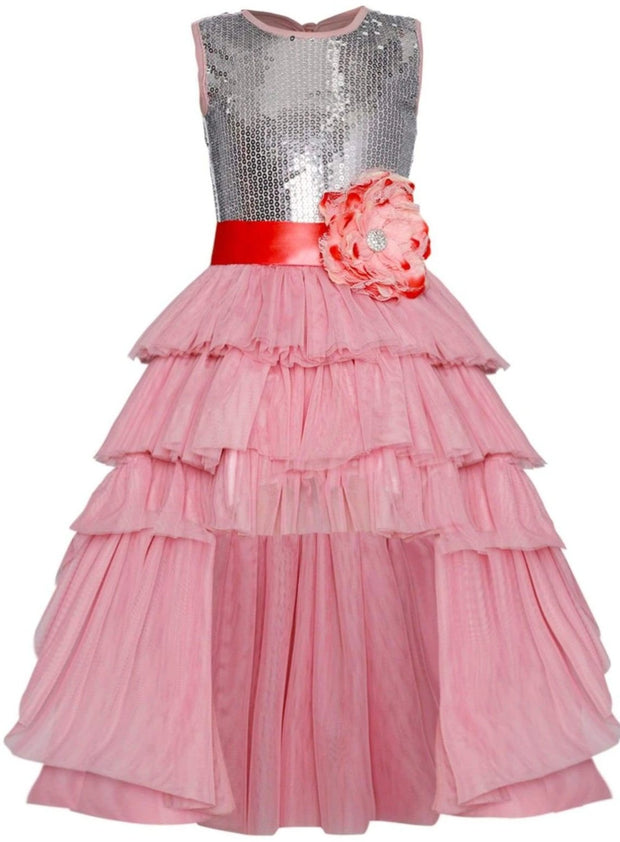 Girls Embellished Ruffled Tiered Hi-Lo Tutu Dress - Dusty Pink / 2T/3T - Girls Spring Dressy Dress