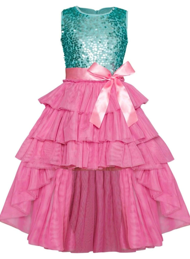 Girls Embellished Ruffled Tiered Hi-Lo Tutu Dress - Pink / 2T/3T - Girls Spring Dressy Dress
