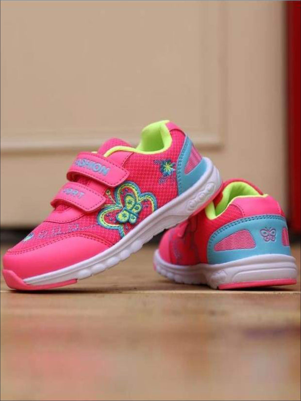 Girls Embroidered Butterfly Velcro Strap Sneakers ( 2 Color Options) - Girls Sneakers