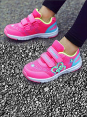Girls Embroidered Butterfly Velcro Strap Sneakers ( 2 Color Options) - Hot Pink / 1 - Girls Sneakers