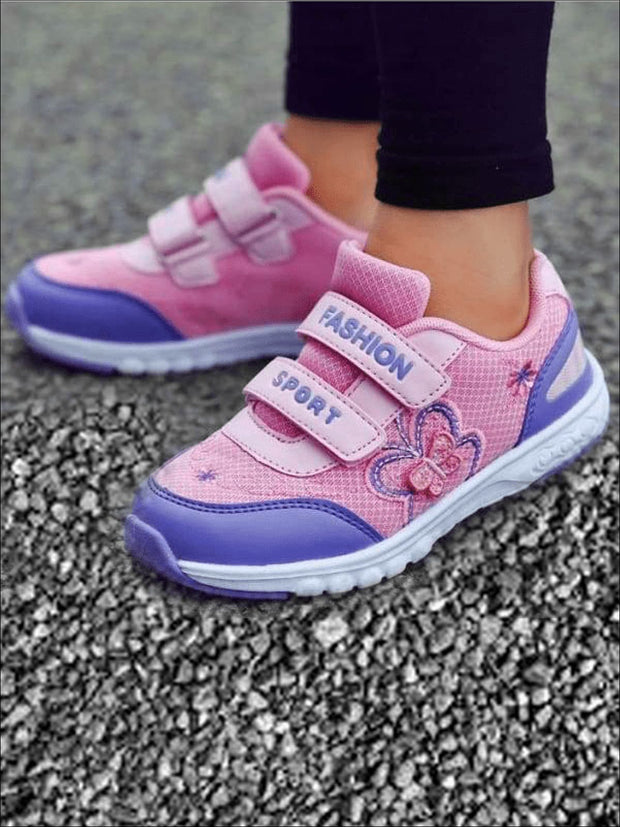 Girls Embroidered Butterfly Velcro Strap Sneakers ( 2 Color Options) - Pink / 1 - Girls Sneakers