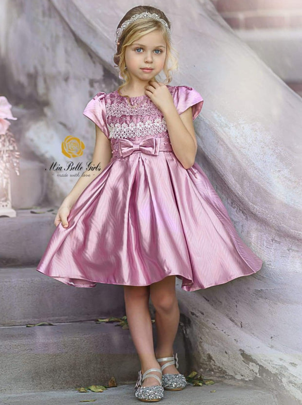 Girls Embroidered Lace Applique Holiday Dress - Girls Fall Dressy Dress