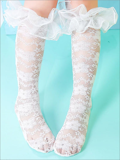 Girls Embroidered Mesh Ruffled Knee Socks - Girls Accessories