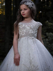 Girls Embroidered Pearl Embellished Communion Gown - Girls Gowns