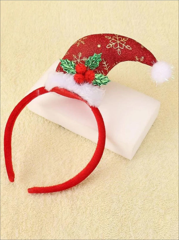 Girls Embroidered Plush Santa Hat Headband - Red - Hair Accessories