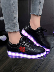 Girls Embroidered Rose LED Rechargeable Light Up Sneakers ( 6 Color Options) - Black / 1 - Girls LED Sneakers