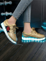 Girls Embroidered Rose LED Rechargeable Light Up Sneakers ( 6 Color Options) - Gold / 1 - Girls LED Sneakers