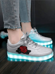 Girls Embroidered Rose LED Rechargeable Light Up Sneakers ( 6 Color Options) - Grey / 1 - Girls LED Sneakers
