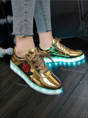 Girls Embroidered Rose LED Rechargeable Light Up Sneakers ( 6 Color Options) - Metallic Gold / 1 - Girls LED Sneakers