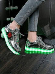 Girls Embroidered Rose LED Rechargeable Light Up Sneakers ( 6 Color Options) - Metallic Silver / 1 - Girls LED Sneakers