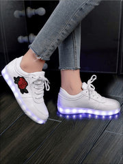 Girls Embroidered Rose LED Rechargeable Light Up Sneakers ( 6 Color Options) - White / 1 - Girls LED Sneakers