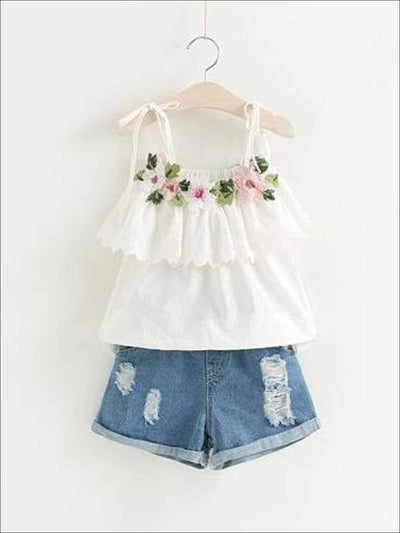 Girls Embroidered Ruffled Tunic & Denim Shorts Set - white / 2T - Casual Spring Set