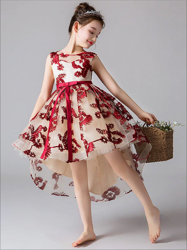Girls Embroidered Sleeveless Special Occasion Hi-Low Holiday Dress - Girls Fall Dressy Dress