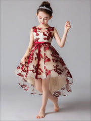 Girls Embroidered Sleeveless Special Occasion Hi-Low Holiday Dress - Red / 3T - Girls Fall Dressy Dress