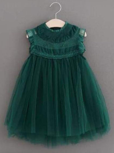 Girls Empire Waist Sleeveless Tulle Dress (8 Colors) - Green / 2T - Girls Fall Dressy Dress